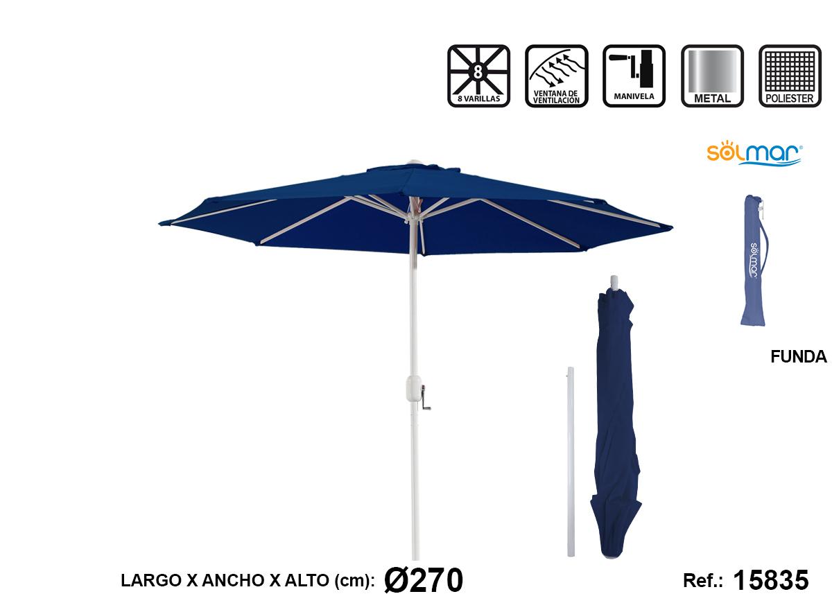 SOMBRILLA CON MANGO AZUL ACERO 15835